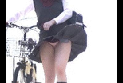 自転車じぇー学生 強風でパンティ丸見え